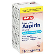 H-E-B Low Strength Aspirin 81 Mg Enteric Coated Tablets