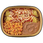 H-E-B Meal Simple Brisket Enchiladas with Mexican Rice and Refried Beans
