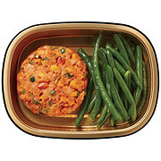 H-E-B Meal Simple Fiesta jalapeno Salmon Burger with Green Beans