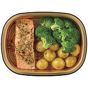 H-E-B Meal Simple Garlic Pesto Atlantic Salmon Portion with Broccoli and Potatoes