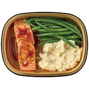 H-E-B Meal Simple Honey BBQ Salmon Portion with Green Beans and Mashed Potatoes