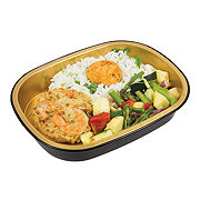 H-E-B Meal Simple Shrimp Cake with Cajun Rice and Green Beans