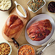H-E-B Meal Simple Smoked Bone-In Turkey Breast & Honey Cured Spiral Sliced Ham Meal