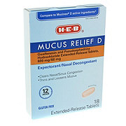 H-E-B Mucus Relief D 600MG, 18 CT