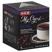 H-E-B My Cup of Balance Superberry Green Tea, Pyramid Tea Bags