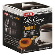 H-E-B My Cup of Comfort Decaffeinated Ginger Peach Black Tea, Pyramid Tea Bags