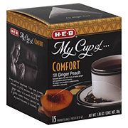 H-E-B My Cup of Comfort Ginger Peach Black Tea, Pyramid Tea Bags