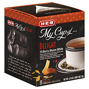 H-E-B My Cup of Delight Berry Bloom White Tea, Pyramid Tea Bags