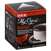 H-E-B My Cup of Harmony Cranberry Blood Orange Black Tea, Pyramid Tea Bags