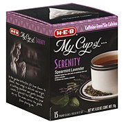 H-E-B My Cup of Serenity Spearmint Lavender Caffeine Free Herbal Tea, Pyramid Tea Bags