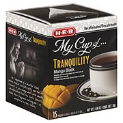H-E-B My Cup of Tranquility Decaffeinated Mango Black Tea, Pyramid Tea Bags