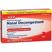 H-E-B Nasal Decongestant Maximum Strength Pseudoephedrine HCI 30 mg Tablets