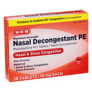 H-E-B Nasal Decongestant PE, Maximum Strength, Non-Drowsy Tablets