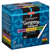 H-E-B Natural Tip Cardboard Applicator Multi-Pack Tampons