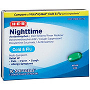 H-E-B Night Time Liquid Caps Cold/Flu Multi-symptom Softgels