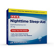 H-E-B Nighttime Sleep Aid Diphenhydramine HCI 25 mg Mini-Caplets