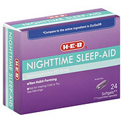 H-E-B Nighttime Sleep-Aid Diphenhydramine HCl 25 mg Softgels