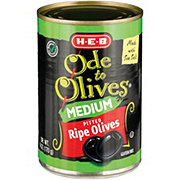 H-E-B Ode to Olives Medium Pitted Ripe Black Olives