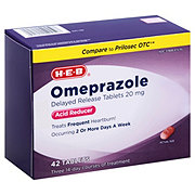 H-E-B Omeprazole Delayed Release Acid Reducer 20 mg Tablets