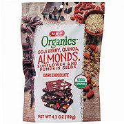 H-E-B Organics Dark Chocolate Gogi Berry Quinoa Almonds Sunflower and Pumpkin Seeds