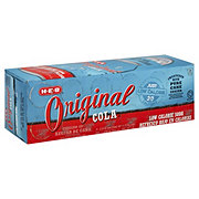 H-E-B Original Cola 20 Calorie Pure Cane Sugar Soda 12 oz Cans