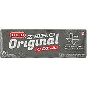 H-E-B Original Zero Calorie Cola 12 oz Cans