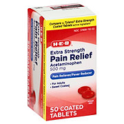 H-E-B Pain Relief Extra Strength Acetaminophen 500 Mg Easy Tabs Tablets