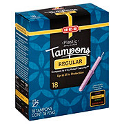 H-E-B Plastic Regular Unscented Tampons