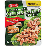 H-E-B Premium Chunk Light Tuna in Spring Water Pouch