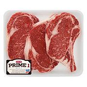 H-E-B Prime 1 Beef Ribeye Steak Bone-in Value Pack, USDA Prime, 3-4 steaks