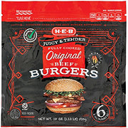 H-E-B Select Ingredients Fully Cooked Original Beef Burgers