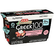 H-E-B Select Ingredients Non-Fat 100 Calories Strawberries & Cream Greek Yogurt