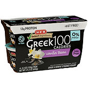 H-E-B Select Ingredients Non-Fat 100 Calories Vanilla Bean Greek Yogurt