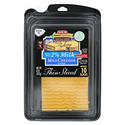 H-E-B Select Ingredients Reduced Fat Mild Cheddar Cheese, Thin Slices