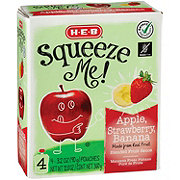 H-E-B Select Ingredients Squeeze Me! Apple, Strawberry, Banana Sauce Pouches