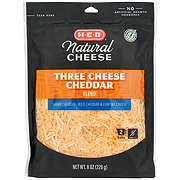 H-E-B Select Ingredients Three Cheese Cheddar Blend, Shredded
