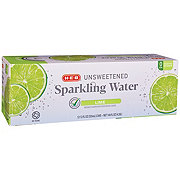 H-E-B Select Ingredients Unsweetened Lime Sparkling Water 12 oz Cans