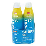 H-E-B Solutions SPF 50 Sport Sunscreen Spray 2 pk