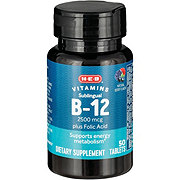 H-E-B Sublingual B-12 2500 mcg Natural Cherry Flavor Tablets