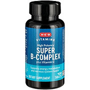 H-E-B Super B-Complex with Folic Acid & Vitamin C Tablets
