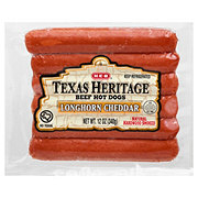 H-E-B Texas Heritage Beef Hot Dogs Longhorn Cheddar