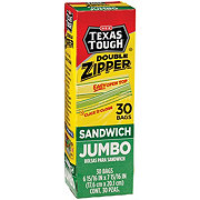 H-E-B Texas Tough Double Zipper Jumbo Sandwich Bags