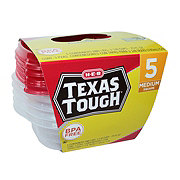 H-E-B Texas Tough Medium Square 25 oz Food Storage Containers