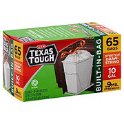 H-E-B Texas Tough Stretch Drawstring Built-In-Bag 10 Gallon Trash Bags
