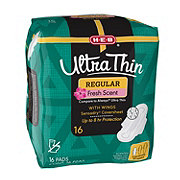 H-E-B Ultra Thin Regular Fresh Scent Pads with Wings