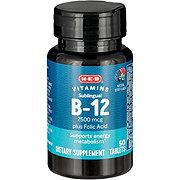 H-E-B Vitamin B-12 2500 mcg Sublingual Natural Cherry Flavor Microlozenges