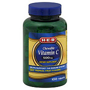 H-E-B Vitamin C 500 mg Tropical Fruit Chewable Tablets