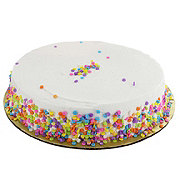 H-E-B White Cake with Confetti and Butter Cream Icing