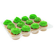 H-E-B White Cupcakes with Green Buttercream Icing