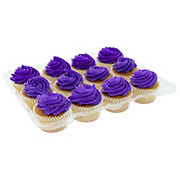 H-E-B White Cupcakes with Purple Buttercream Icing